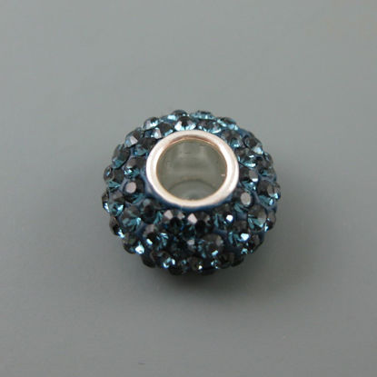 European .925 Sterling Silver Charm Beads CZ Midnight Blue Stone