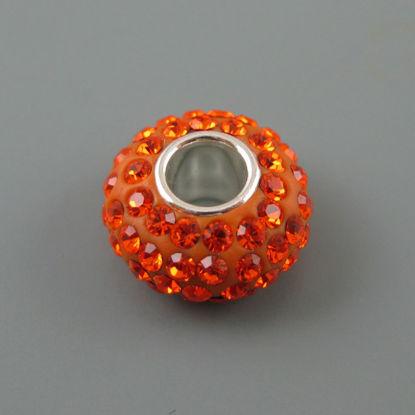 European .925 Sterling Silver Charm Beads CZ Orange Stone