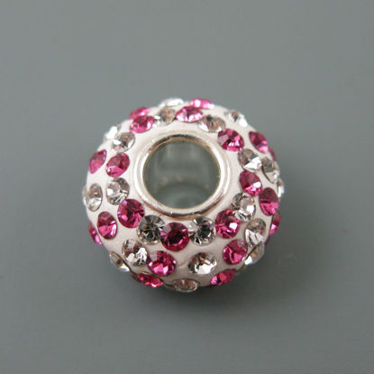 European .925 Sterling Silver Charm Beads CZ Pink and Silver Stones