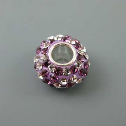 European .925 Sterling Silver Charm Beads CZ Purple and Silver Stones