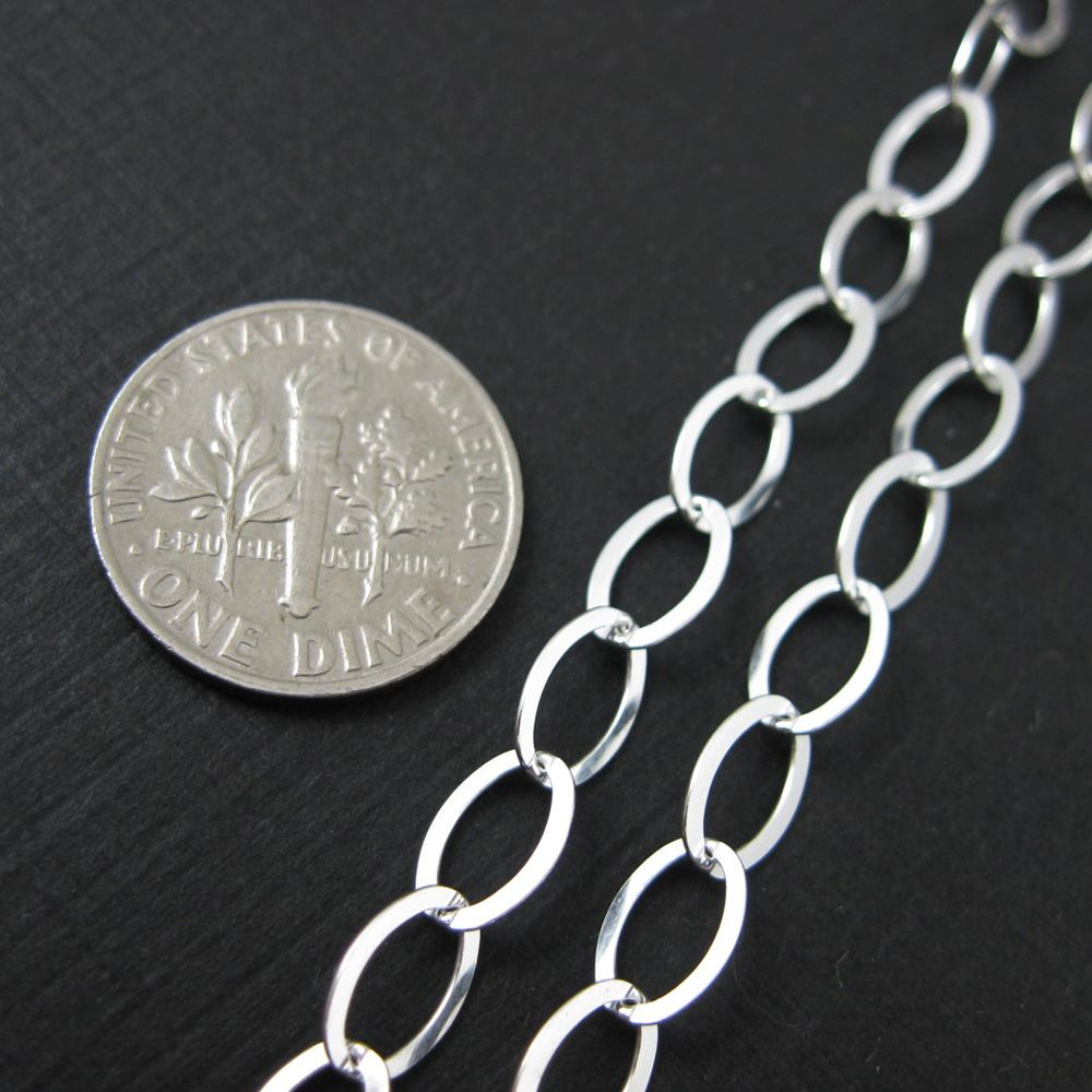 Sterling Silver Chain - Big Flat Oval Chain 8.5 X 6mm - Oval Chain - Unfinished Bulk Chain (sold by the foot)