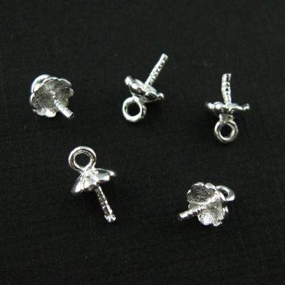 925 Sterling Silver Peg Bail Caps for Half Drilled Pearls and Beads - Fancy Top, Bright Silver (10 pcs)