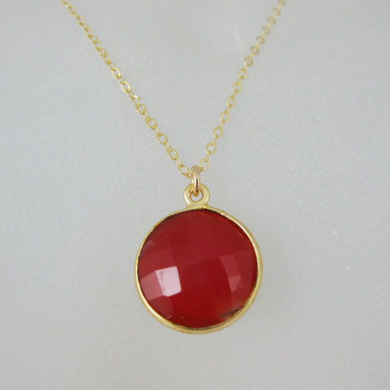 Bezel Gemstone Round Pendant Necklace Gold Plated Chain Carnelian 16 24