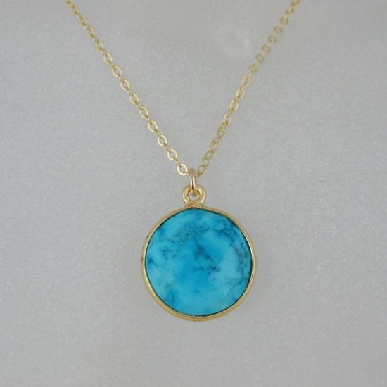 Bezel Gemstone Round Pendant Necklace Gold Plated Chain Turquoise 16 24