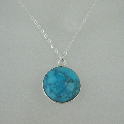 "Bezel Gemstone Round Pendant Necklace - Sterling Silver - Turquoise (16-24"")"