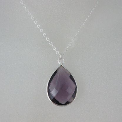 """Bezel Gemstone Tear Pendant Necklace - Silver Sterling Chain - Amethyst (16-24"""")"""