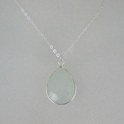"Bezel Gemstone Tear Pendant Necklace - Silver Sterling Chain - Aqua Chalcedony (16-24"")"