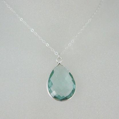 "Bezel Gemstone Tear Pendant Necklace - Silver Sterling Chain - Aqua Quartz (16-24"")"