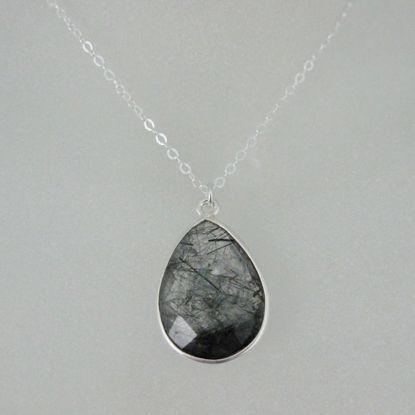 "Bezel Gemstone Tear Pendant Necklace - Silver Sterling Chain - Black Rutilated Quartz(16-24"")"