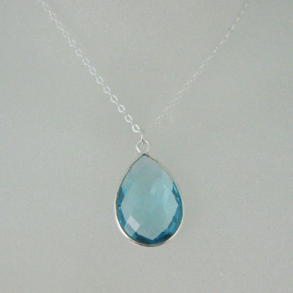 "Bezel Gemstone Tear Pendant Necklace - Silver Sterling Chain - Blue Topaz(16-24"")"