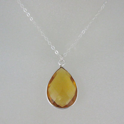 "Bezel Gemstone Tear Pendant Necklace - Silver Sterling Chain - Citrine Quartz (16-24"")"