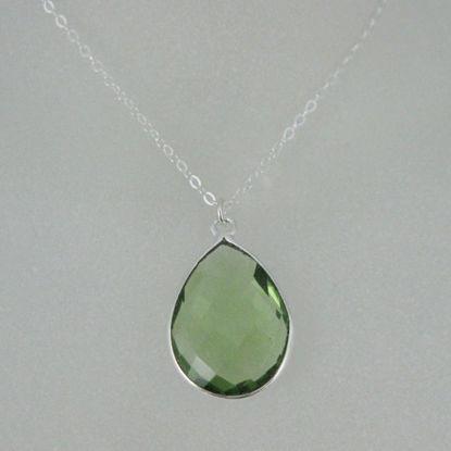 "Bezel Gemstone Tear Pendant Necklace - Silver Sterling Chain - Green Amethyst Quartz (16-24"")"