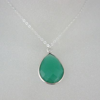 """Bezel Gemstone Tear Pendant Necklace - Silver Sterling Chain - Green Onyx (16-24"""")"""