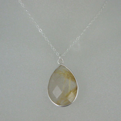 "Bezel Gemstone Tear Pendant Necklace - Silver Sterling Chain - Gold Rutilated Quartz (16-24"")"