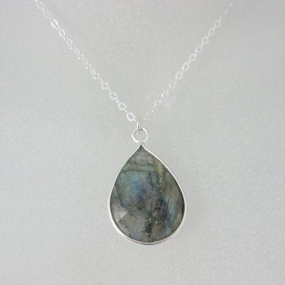"Bezel Gemstone Tear Pendant Necklace - Silver Sterling Chain - Labradorite (16-24"")"