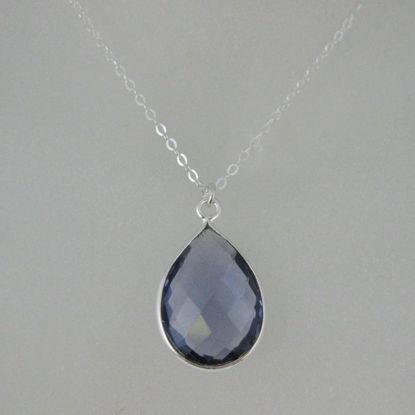 "Bezel Gemstone Tear Pendant Necklace - Silver Sterling Chain - Iolite Quartz (16-24"")"