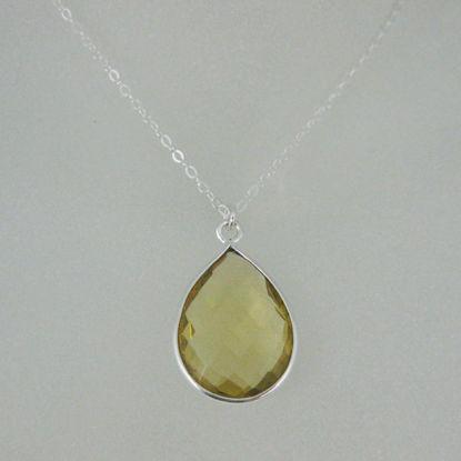 "Bezel Gemstone Tear Pendant Necklace - Silver Sterling Chain - Lemon Quartz (16-24"")"