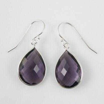 Bezel Gemstone Tear Shaped Pendant Earrings - Sterling Silver Hooks - Amethyst