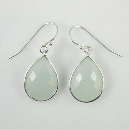 Bezel Gemstone Tear Shaped Pendant Earrings - Sterling Silver Hooks - Aqua Chalcedony
