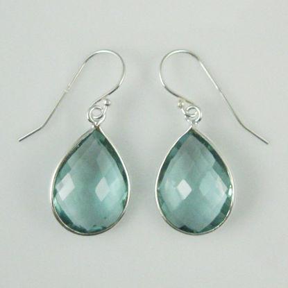 Bezel Gemstone Tear Shaped Pendant Earrings - Sterling Silver Hooks - Aqua Quartz