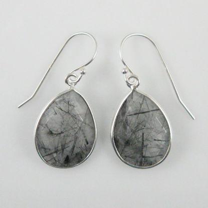 Bezel Gemstone Tear Shaped Pendant Earrings - Sterling Silver Hooks - Black Rutilated Quartz