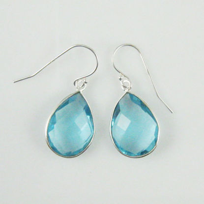 Bezel Gemstone Tear Shaped Pendant Earrings - Sterling Silver Hooks - Blue Topaz
