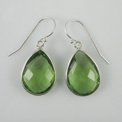 Bezel Gemstone Tear Shaped Pendant Earrings - Sterling Silver Hooks - Green Amethyst Quartz
