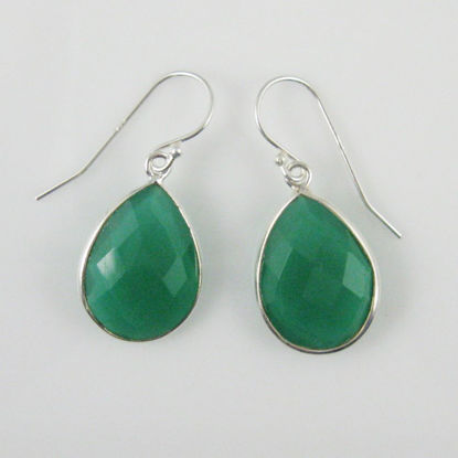 Bezel Gemstone Tear Shaped Pendant Earrings - Sterling Silver Hooks - Green Onyx