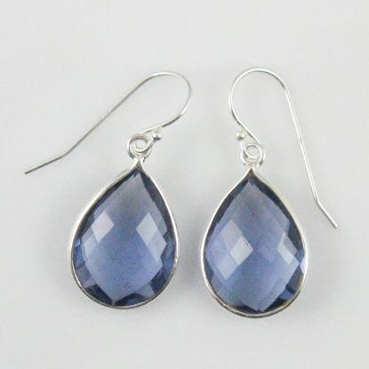 Bezel Gemstone Tear Shaped Pendant Earrings - Sterling Silver Hooks - Iolite Quartz