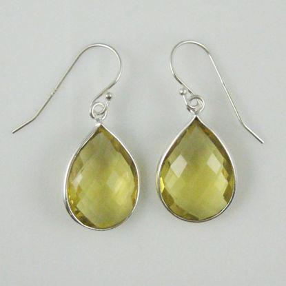 Bezel Gemstone Tear Shaped Pendant Earrings - Sterling Silver Hooks - Lemon Quartz