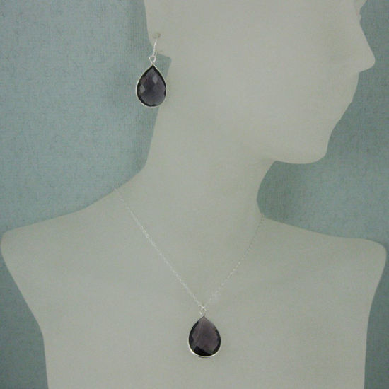 """Bezel Gem Tear Pendant Necklace & Earrings - Sterling Silver-Amethyst (16-24"""")"""