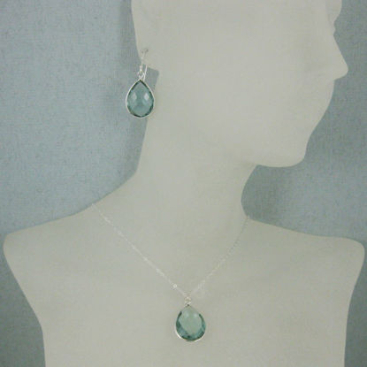 "Bezel Gem Tear Pendant Necklace & Earrings - Sterling Silver-Aqua Quartz (16-24"")"