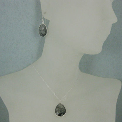 "Bezel Gem Tear Pendant Necklace & Earrings - Sterling Silver-Black Rutilated Quartz (16-24"")"