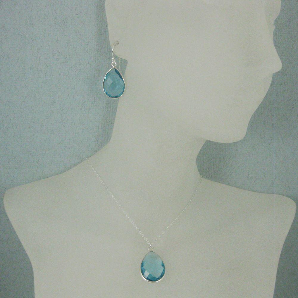 """Bezel Gem Tear Pendant Necklace & Earrings - Sterling Silver-Blue Topaz (16-24"""")"""