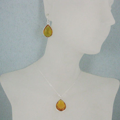 "Bezel Gem Tear Pendant Necklace & Earrings - Sterling Silver-Citrine Quartz (16-24"")"