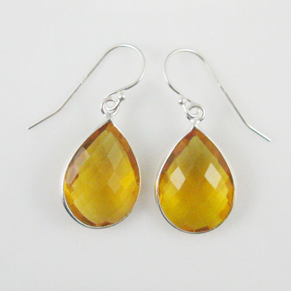 "Bezel Gem Tear Pendant Necklace & Earrings - Sterling Silver-Citrine Quartz (16-24"")"
