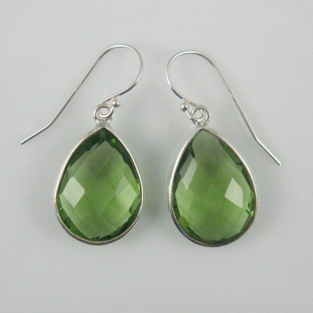 """Bezel Gem Tear Pendant Necklace & Earrings - Sterling Silver-Green Amethyst Quartz (16-24"""")"""