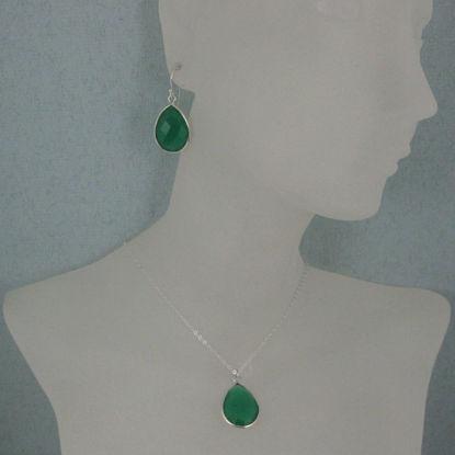 """Bezel Gem Tear Pendant Necklace & Earrings - Sterling Silver-Green Onyx (16-24"""")"""