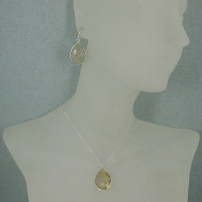 "Bezel Gem Tear Pendant Necklace & Earrings - Sterling Silver-Gold Rutilated Quartz (16-24"")"