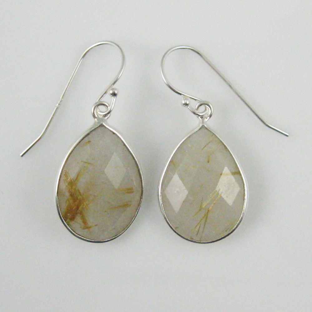 "Bezel Gem Tear Pendant Necklace & Earrings - Sterling Silver-Gold Rutilated Quartz (16-24"")"