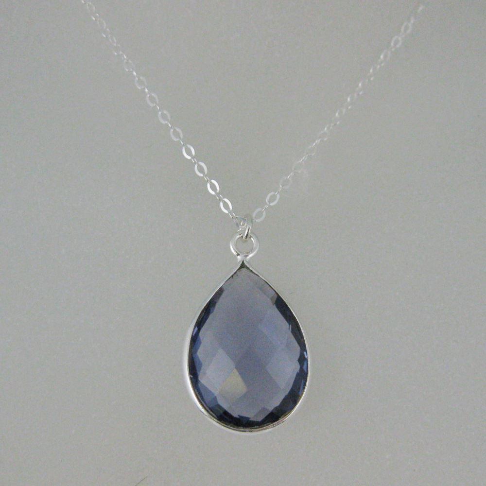"Bezel Gem Tear Pendant Necklace & Earrings - Sterling Silver-Iolite Quartz (16-24"")"