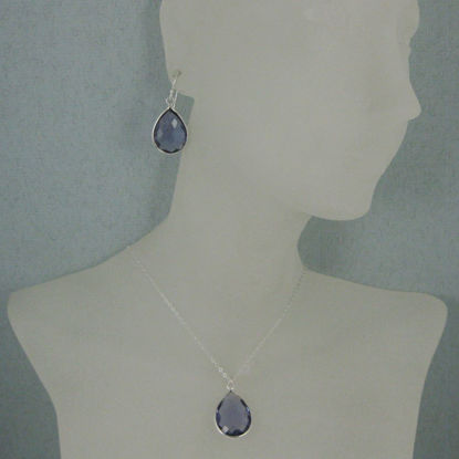 "Bezel Gem Tear Pendant Necklace & Earrings - Sterling Silver-Iolite Quartz (16-24"")"