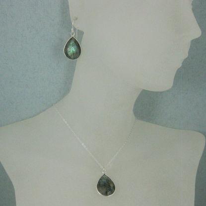 """Bezel Gem Tear Pendant Necklace & Earrings - Sterling Silver-Labradorite (16-24"""")"""