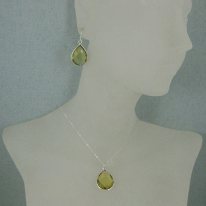 "Bezel Gem Tear Pendant Necklace & Earrings - Sterling Silver-Lemon Quartz (16-24"")"