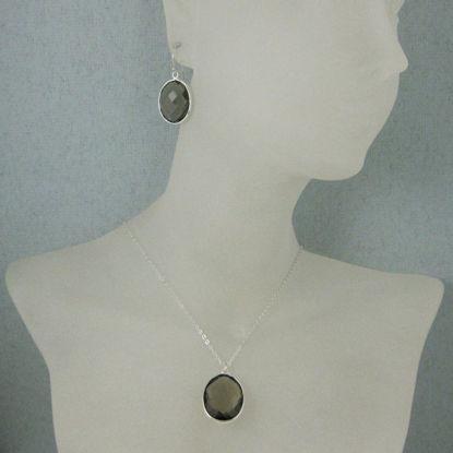 """Bezel Gem Oval Pendant Necklace & Earrings - Sterling Silver-Smokey Quartz (16-24"""")"""
