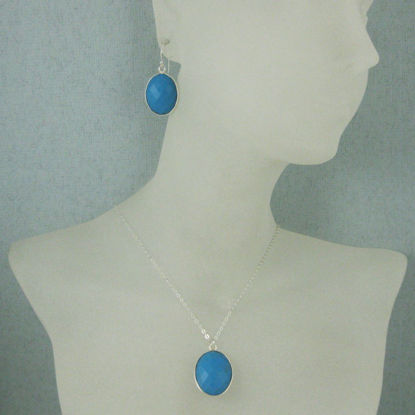 "Bezel Gem Oval Pendant Necklace & Earrings - Sterling Silver-Turquoise (16-24"")"