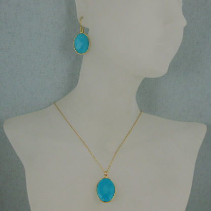 """Bezel Gemstone Oval Pendant Necklace & Earrings-Gold Plated-Turquoise (16-24"""")"""