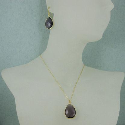 """Bezel Gemstone Tear Pendant Necklace & Earrings - Gold Plated - Amethyst (16-24"""")"""