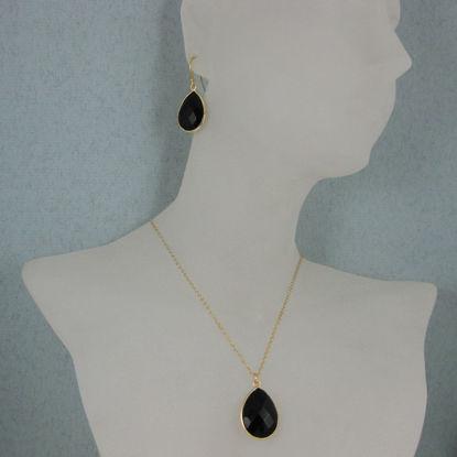 """Bezel Gemstone Tear Pendant Necklace & Earrings - Gold Plated - Black Onyx (16-24"""")"""