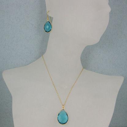 "Bezel Gemstone Tear Pendant Necklace & Earrings - Gold Plated - Blue Quartz (16-24"")"